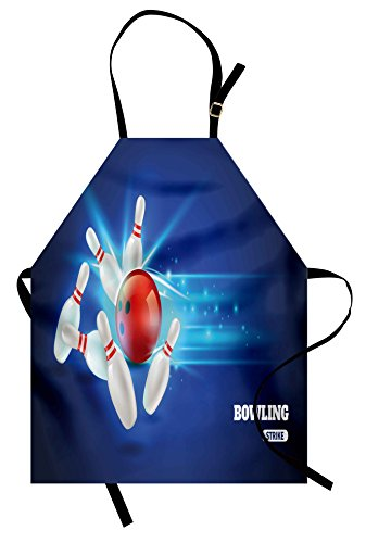 Ambesonne Bowling Party Apron, Bowling Strike Image Red Ball and Classical Pins in Vivid Composition, Unisex Kitchen Bib Apron with Adjustable Neck for Cooking Baking Gardening, Red Aqua -