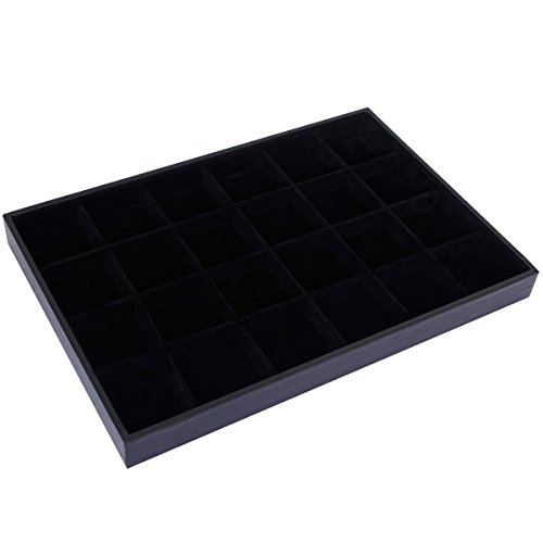 Jewelry Box 72 Black Trays (jenifer2015 Black Velvet Earring Jewelry Organizer Tray Showcase (24 Grid Jewelry Tray))