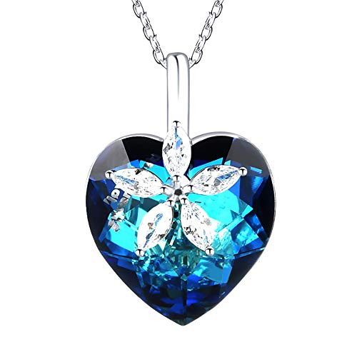 (ZSML Swarovski Blue Crystals Elements Necklace Zircon Flower Heart Shape Pendant - for Her Special Moment Jewellery Gift,Blue)