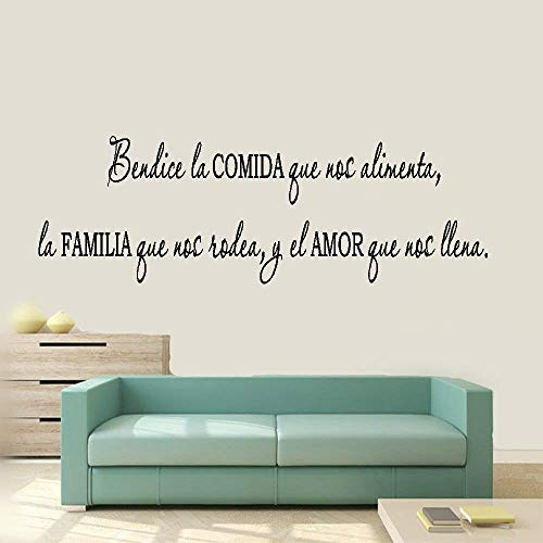 Bluegiants Vinyl Removable Wall Stickers Mural Decal Spanish Quote Bendice La Comida Que Nos Alimenta for Dining Room Living Room Wall Sticker