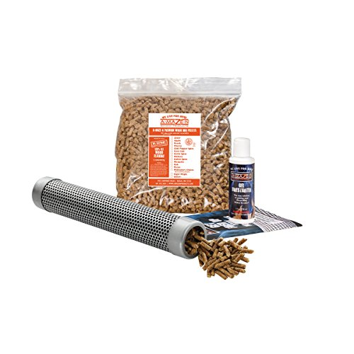A-MAZE-N Pellet Smoker 12″ Tube with 2 lbs Pitmasters Choice Pellets, Gel Fire Starter & Recipe Guide For Sale