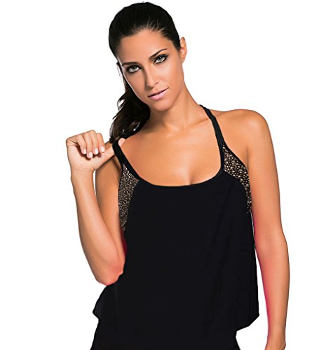 Aleumdr Women's Insert Padded Tankini Top Upper Body Leopard XXX-Large(FBA)