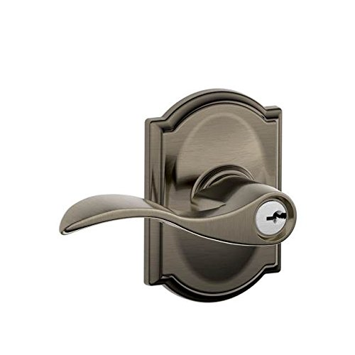 Schlage F51AACC620CAM F51A Accent 620 CAM Camelot Deco Rose Entry Door Lock Antique Nickel