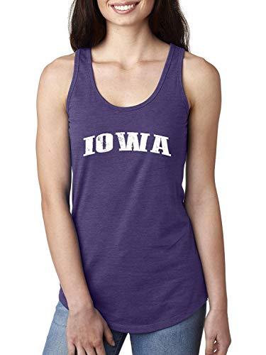 Iowa State Flag Traveler`s Gift Women's Racerback Tank Top (SPR) Purple Rush -