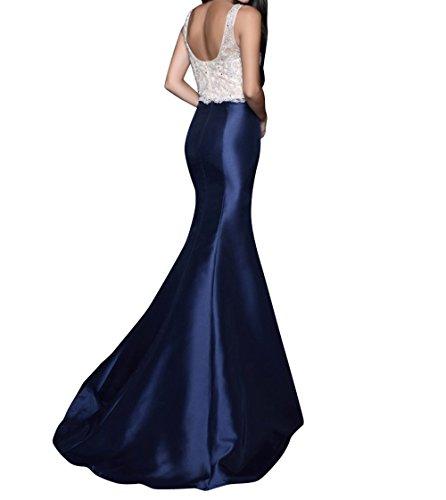 mia Meerjungfrau Braut Blau Festlichkleider Kleider Traube Promkleider Abschlussballkleider Navy La Lang Spitze Jugendweihe Abendkleider XdqgXx