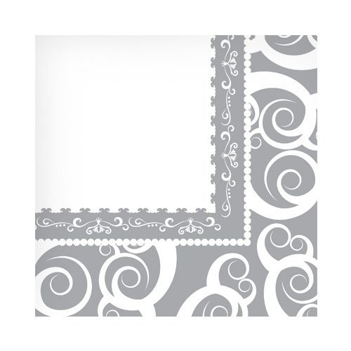 (Hanna K. Signature Collection 75 Count Medley Paper Beverage Napkin, Silver)