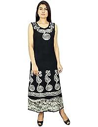 Long Casual Summer Dress Batik Print Sleeveless Beach Women Sundress Gif For Her