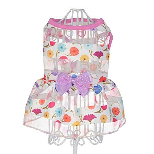 YOTATO Summer Bowknot Cat Dog Dress Suits Clothes Puppy Wedding Princess Skirt Pet -