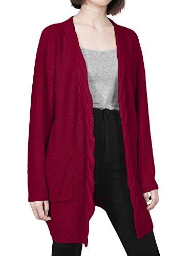 Donna Anteriore Maglione Maglia Maglioni Tasca Inverno Lungo Nero Aperto Autunno Cappotto Sweater Blue Beige Dylh Con Cardigan Rosso 5xwFq0B