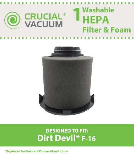 Dirt Devil F16 HEPA Filter & FOAM Filter; Long-Life WASHABLE, REUSABLE; Compare With Dirt Devil Part F-16 #1-JW1100-000, 2-JW1000-000 (1JW1100000, 2JW1000000); Designed & Engineered by Crucial Vacuum