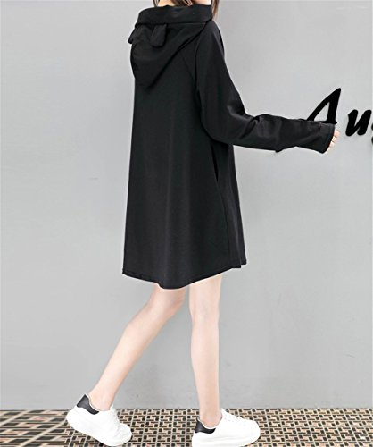 nero Allenamento Oversized Pullover Manica Cappuccio Top Colore Sweatshirt Donna Frontale Abito Tasca Felpe Moda DaBag Felpa Hoodies con 2 Puro Lunga H1Unw