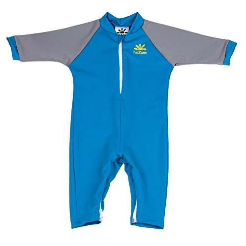 Nozone Fiji Sun Protective Baby Swimsuit in Smurf/Titanium, 18-24 (Infant Sunsuit)