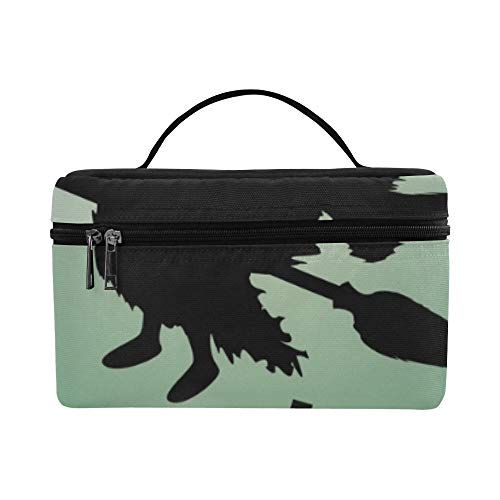 Halloween Silhouette Flying Witch Night Graveyard Lunch Box Tote Bag Lunch Holder Insulated Lunch Cooler Bag For -