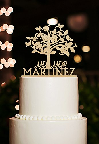 CiCiDi Cake Toppers Mr Mrs Martinez Name Custom Tree Engagement Wedding Party Cake Decorating