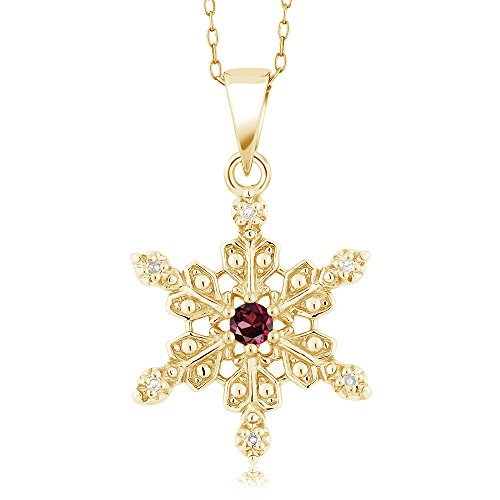 Diamond Set Snowflake - Gem Stone King 18K Yellow Gold Plated Silver Diamond Accent Snowflake Pendant Red Rhodolite Garnet (0.14 cttw, with 18 Inch Chain)