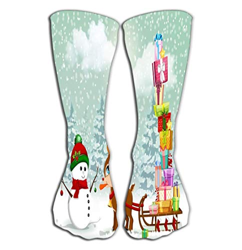 (YILINGER Cute Cristmas Cartoon Scene Reindeer Snowman Very Baby Pulling Sleigh Compression Socks Women Knee high or Men Best Stockings for Running, Medical,19.7