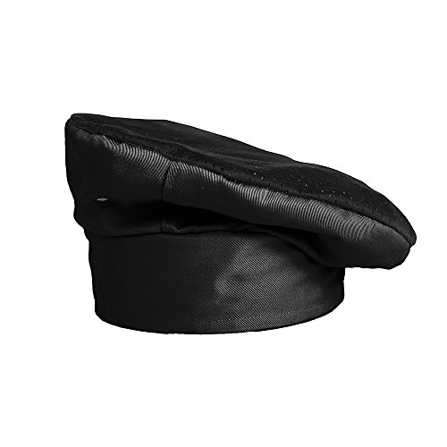 KNG Active Chef Toque, Black with Black Accent (Black Toque Hat)
