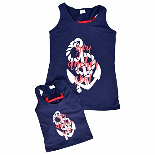 0a51268bde7bb Unique Baby Girls Mommy   Me Racerback Anchor Tank Tops (1 Year XXS ...