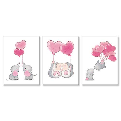 (SUMGAR 3 Piece Wall Art Nursery Elephant Canvas Paintings Pink Pictures Grey Animal Artwork Gray Prints,12x16)