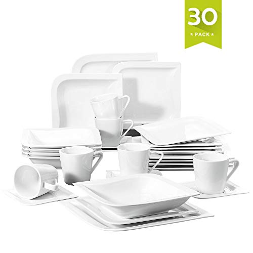Dinner Coffee Saucer - Malacasa, Series Joesfa, 30-Piece Ivory White Porcelain China Ceramic Cream White Dinner Combi-Set with Cups Saucers Dessert Plates Soup Plates and Dinner Plates Dinnerware Sets Service for 6