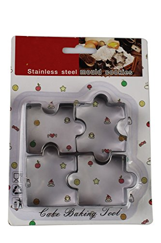 Holiday 4 Pcs Stainless Steel Cookie Cutter Set, Puzzle (Halloween Cake Pinterest)