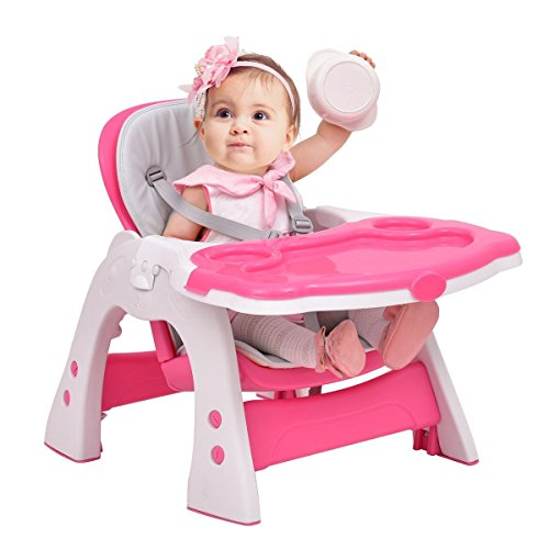 Costzon 3 in 1 Baby High Chair Desk Convertible Play Table Conversion Seat Booster (Pink) by Costzon (Image #3)
