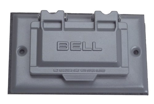 Hubbell-Bell 5101-5 Grey GFCI Horizontal Device Mount Single Gang Cover (Bells Holiday Outdoor Lighting)