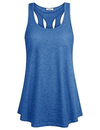 (Womens Cross Back Yoga Shirt Activewear Workout Clothes Racerback Tank Top Blue XXL)