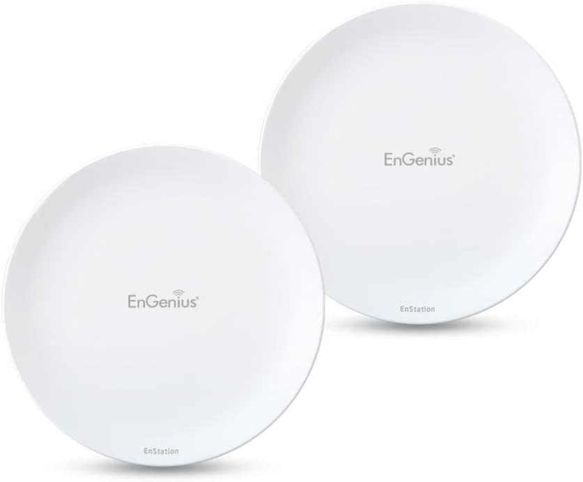 EnGenius EnStation5-AC with EnJet Technology 5GHz Outdoor 802.11ac Wave 2 Plug-n-Play Long Range Pre-paired PtP Wireless Client Bridge/AP [2-Pack] (EnStation5-AC Kit)