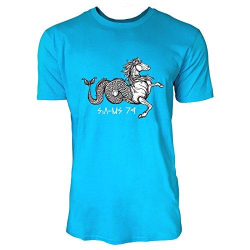 SINUS ART® Handgemaltes mythologisches Wasserpferd Herren T-Shirts in Karibik blau Cooles Fun Shirt mit tollen Aufdruck