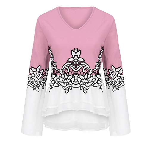 GOVOW Christmas Chiffon Blouses for Women Plus Size - Flower Lace Color Casual Applique Flowy V-neck Long Sleeve Blouse ()