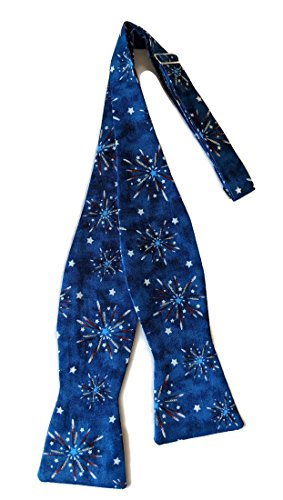 - Men's Patriotic Self Bow Tie Handcrafted of Blue, Red & White Fireworks (Mens)