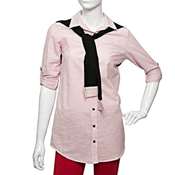 Puanli Pink Cotton Shirt Neck Shirts For Women