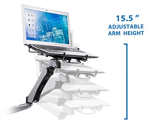 Mount-It! MI-75801 Adjustable Height, Articulating, Tilting, Rotating, Desk Mount Stand for Laptops, Tablets, and Notebooks for Screens up to 17inches with USB Powered Cooling Fan, Grommet Base, Silver by Mount-It! (Image #3)
