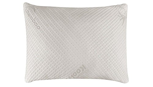 Snuggle-Pedic Ultra-Luxury Bamboo Shredded Memory Foam Pillow Combination With Adjustable Fit and Zipper Removable Kool-Flow Breathable Cooling Hypoallergenic Pillow Cover ()
