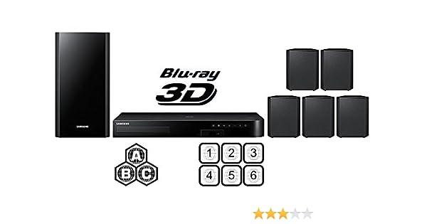 Samsung región libre HT-J4500 Smart Blu-ray cine en casa de 5.1 canales sistema multi zona todos región reproductor de BLU RAY Disc DVD – PAL/NTSC – USB y Cable HDMI de 6