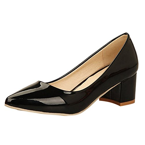 Carol Shoes Women's Single Color Concise Mid Heel Pointed Toe Court Shoes Black WXgHChY6i