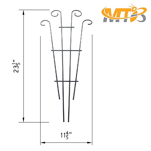 MTB Silver Coated Wave Pot Trellis 23'' Plant Stakes for Climbing Plants Pack of 2