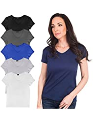 Agiato Womens Basic V Neck T-Shirt 6-Pack