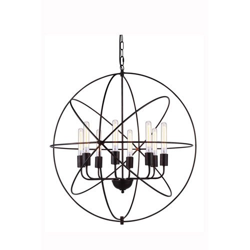 Elegant Lighting Vienna Collection 8-Light Pendant Lamp, Dark Bronze Finish