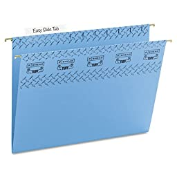 Smead 64041 Tuff Hanging Folder with Easy Slide Tab Letter Blue 18/Pack