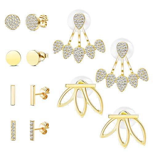 FUNRUN JEWELRY 6 Pairs Bar Stud Earrings for Women Hollow Lotus Flower Earrings Set Ear Jacket CZ Inlay ()