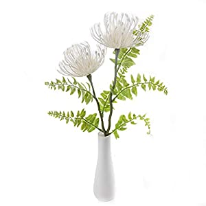 Tutuziyyy 3pcs Artificial Chrysanthemum Flowers Fake Memorial Flowers for Memorial Day, Cemetery, Home Office, Wedding, Restaurant Decor, Country(White) 79