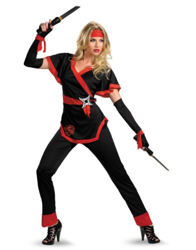 Disguise Women's Ninja Dragon Costume, Black/Red, Small (Dragon Lady Red Costume)