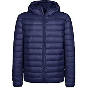 Wantdo Men's Hooded Packable Light Weight Down Jacket Large Navy