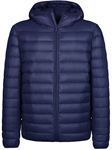Wantdo Men's Hooded Packable Light Weight Down Jacket Large Navy by Wantdo