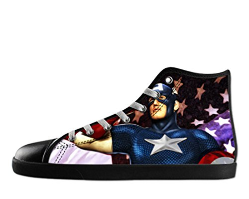 Super Hero Print Black High Top Canvas Shoes for Women Hallo Canvas Shoes14 Xdaf5Z7EKr