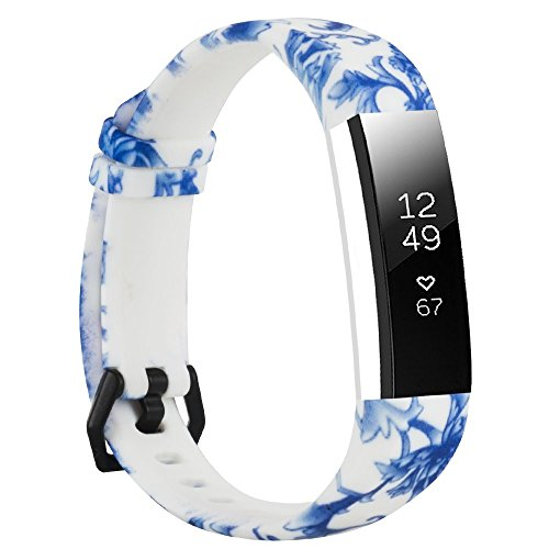 (honecumi Floral Replacement Wrist Strap Compatible with Fitbit Alta/Alta HR Pattern Watch Bands Exchange Accessory for Men Women Adjustable Fitbit Alta HR Band with Metal)
