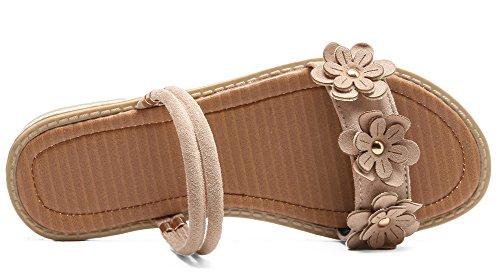 Aisun Beige Aisun Faux Suède Plates Confortable Fleurs Confortable Femmes Sandales Faux Suède qtTtv