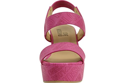 Love Moschino Women's Embossed Logo Fuchsia Wedge Heels Sandals Shoes Sz: 8 by Love Moschino (Image #4)
